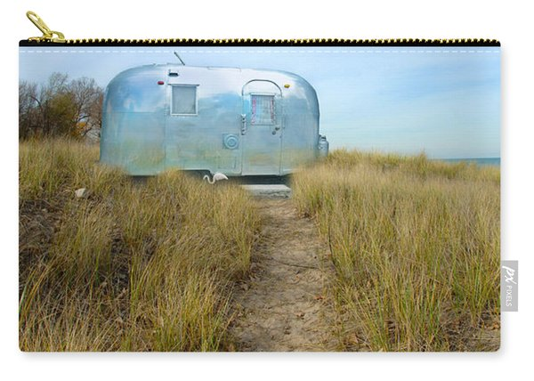 Vintage Camping Trailer Near The Sea Carry-all Pouch