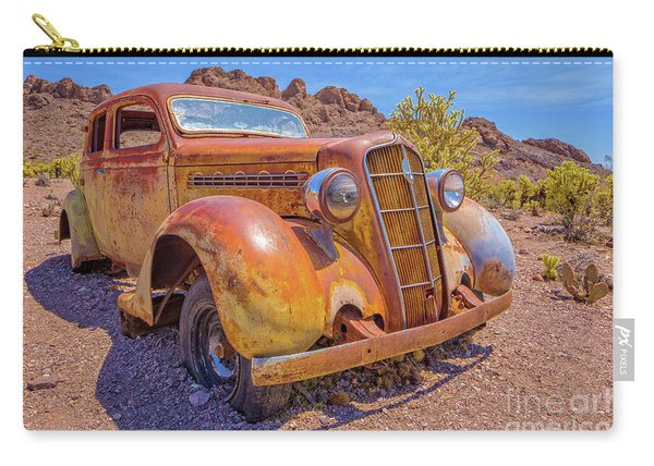 Vintage Car In The Desert Hdr Carry-all Pouch