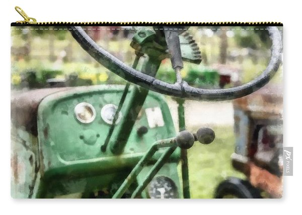 Vintage Green Tractor Steering Wheel Carry-all Pouch