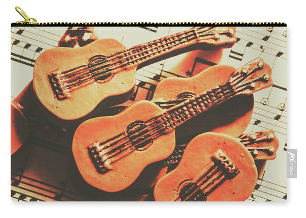 Vintage Guitars On Music Sheet Carry-all Pouch