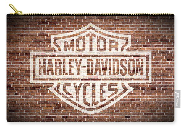 Vintage Harley Davidson Logo Painted On Old Brick Wall Carry-all Pouch