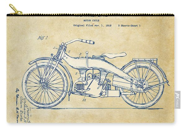 Vintage Harley-davidson Motorcycle 1924 Patent Artwork Carry-all Pouch