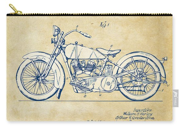 Vintage Harley-davidson Motorcycle 1928 Patent Artwork Carry-all Pouch
