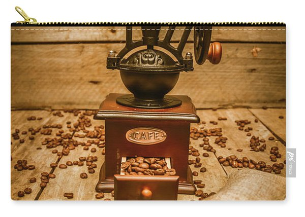 Vintage Manual Grinder And Coffee Beans Carry-all Pouch