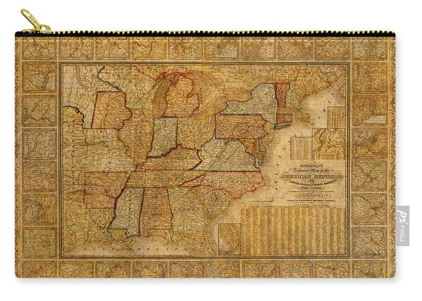 Vintage Map Of The United States Of America Usa Circa 1845 On Worn Distressed Parchment Carry-all Pouch