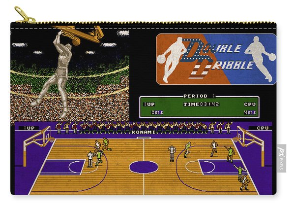 Vintage Nintendo Nes Double Dribble Game Scene Carry-all Pouch
