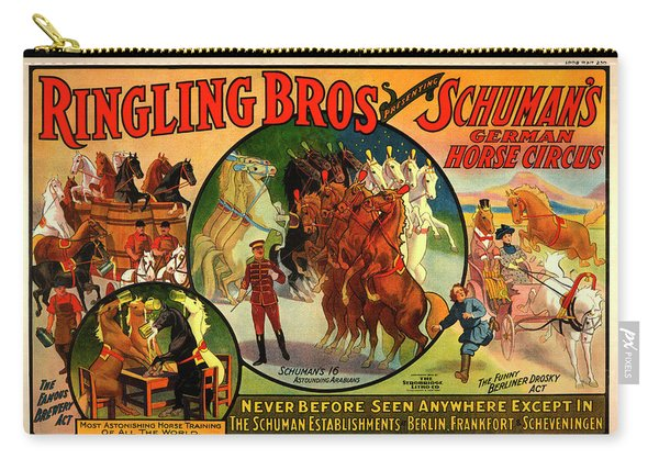 Vintage Ringling Bros Presenting Schuman's German Horse Circus Poster Carry-all Pouch