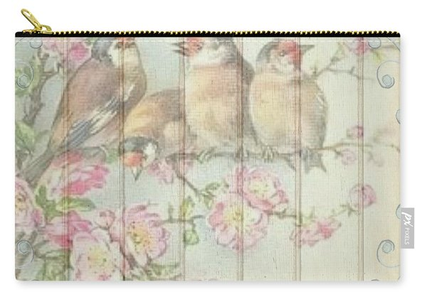 Vintage Shabby Chic Floral Faded Birds Design Carry-all Pouch