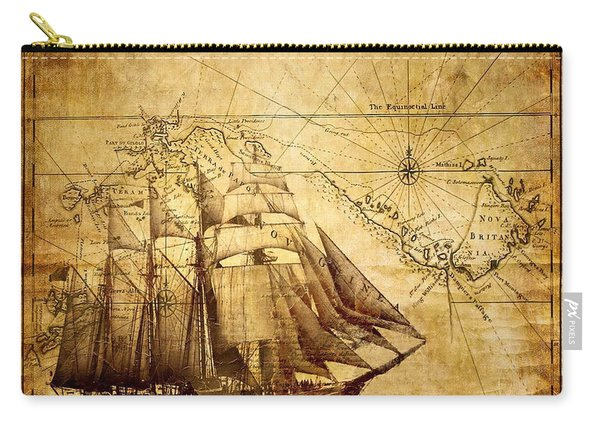 Vintage Ship Map Carry-all Pouch
