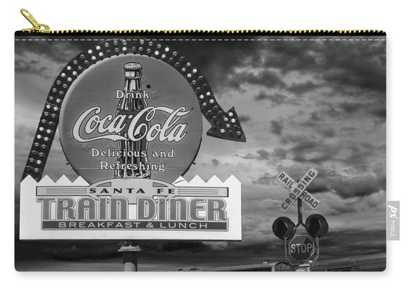 Vintage Sign In Black And White For A Classic Train Diner Carry-all Pouch