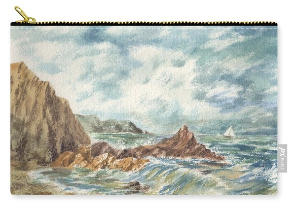 Vintage Storm At Rocky Shore Carry-all Pouch