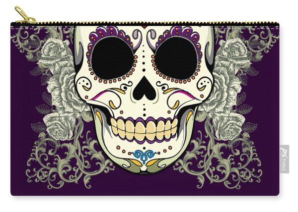 Vintage Sugar Skull And Flowers Carry-all Pouch