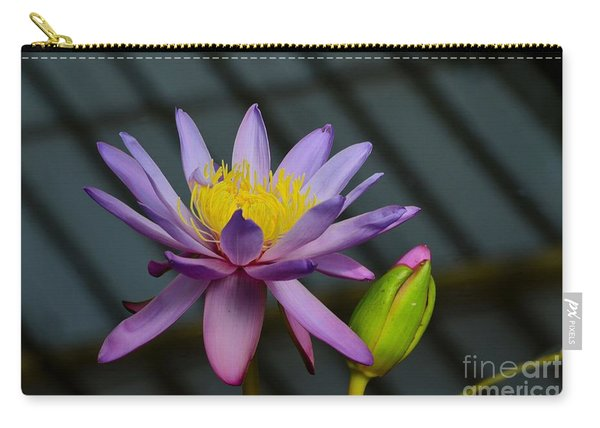Violet And Yellow Water Lily Flower With Unopened Bud Carry-all Pouch