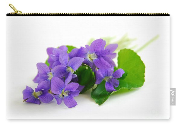 Violets On White Background Carry-all Pouch