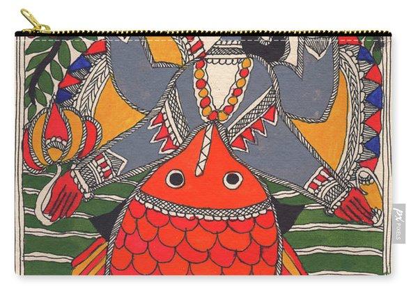 Vishnu Matsya Madhubani Painting God Avatar Fish Incarnation Watercolor Miniature Painting Carry-all Pouch