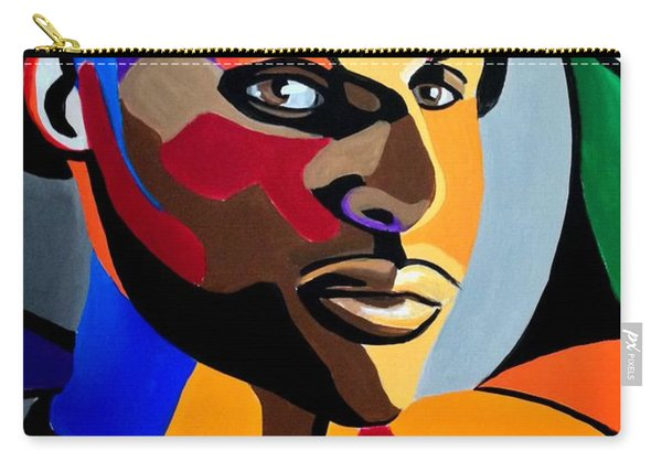 Visionaire, Abstract Male Face Portrait Painting - Illusion Abstract Artwork - Chromatic Carry-all Pouch