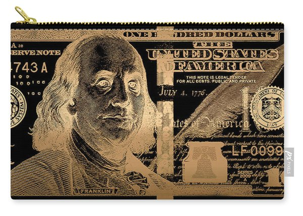 One Hundred Us Dollar Bill - $100 Usd In Gold On Black Carry-all Pouch
