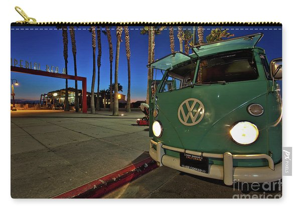 Carry-all Pouch featuring the photograph Volkswagen Bus At The Imperial Beach Pier by Sam Antonio Photography