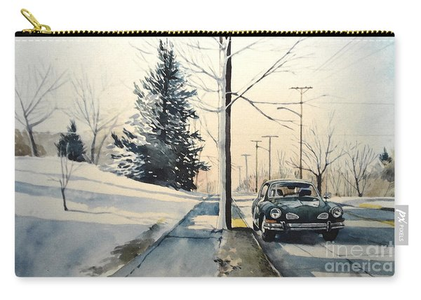 Volkswagen Karmann Ghia On Snowy Road Carry-all Pouch