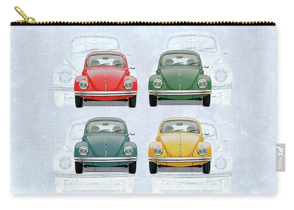 Volkswagen Type 1 - Variety Of Volkswagen Beetle On Vintage Background Carry-all Pouch