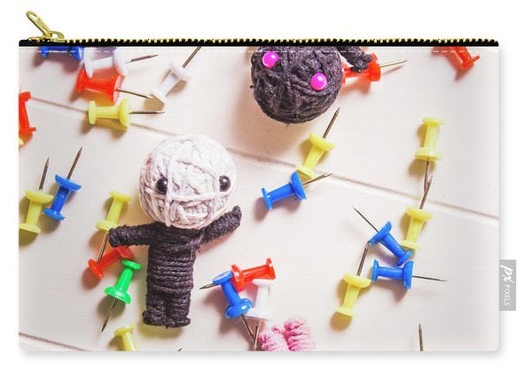 Voodoo Dolls Surrounded By Colorful Thumbtacks Carry-all Pouch