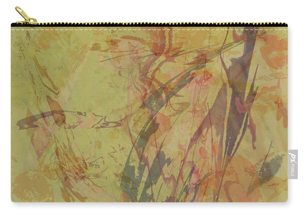 Wabi Sabi Ikebana Rose On Yellow Green Carry-all Pouch