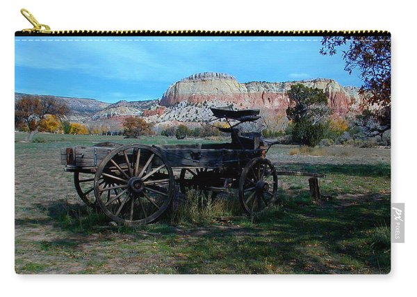 Carry-all Pouch featuring the photograph Wagon And Kitchen Mesa by Joseph R Luciano