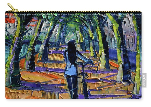 Walk Beneath The Plane Trees Modern Impressionist Palette Knife Painting Carry-all Pouch