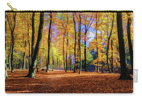 Carry-all Pouch featuring the photograph Walking In The Golden Woods by Dmytro Korol