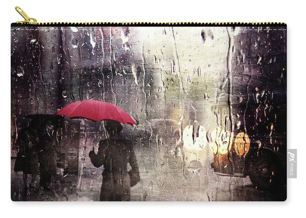 Walking In The Rain Somewhere Carry-all Pouch