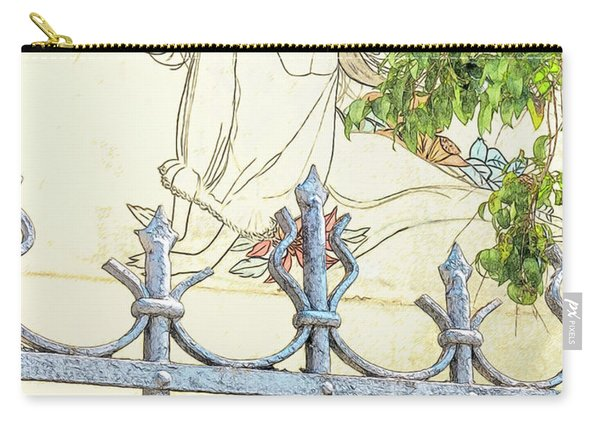 Wall Painting And Wrought Iron Fence Carry-all Pouch