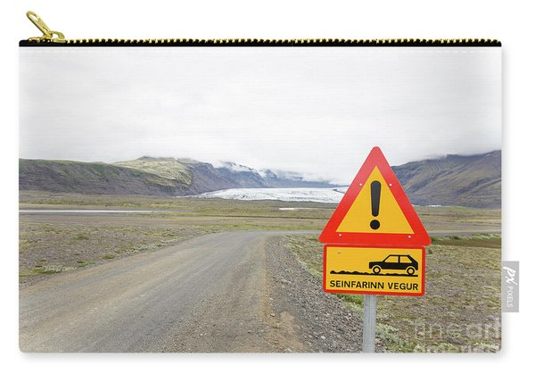 Warning Road Sign Iceland Carry-all Pouch