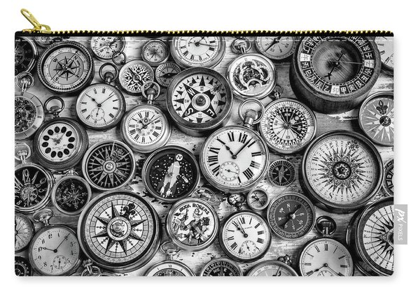 Watches And Compasses In Black And White Carry-all Pouch