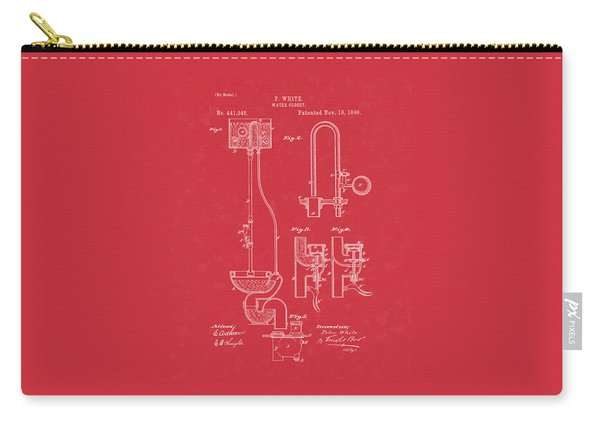 Water Closet Patent Art Red Carry-all Pouch