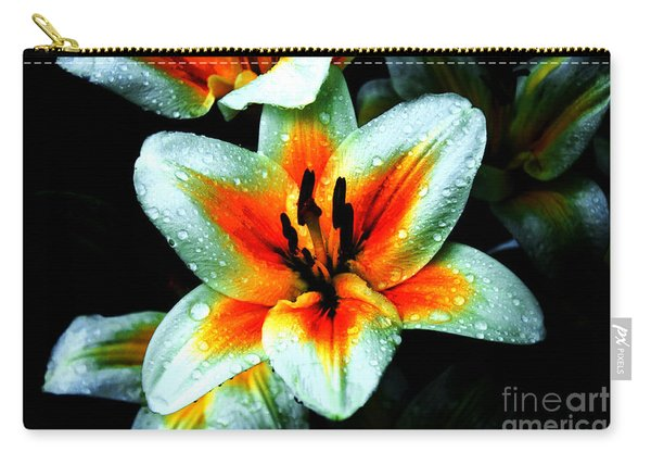 Water Droplet Covered White Lily  Carry-all Pouch