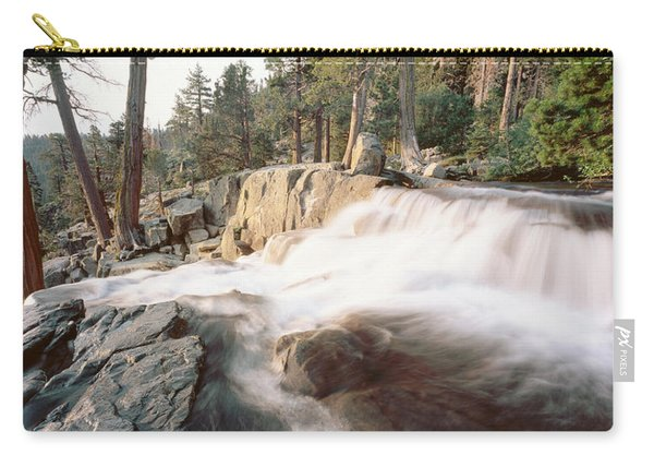 Water Flowing At A Waterfall, Emerald Carry-all Pouch