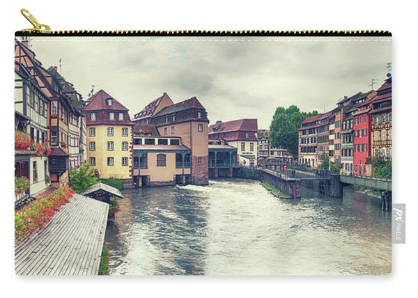 Carry-all Pouch featuring the photograph water panorama in Strasbourg  by Ariadna De Raadt
