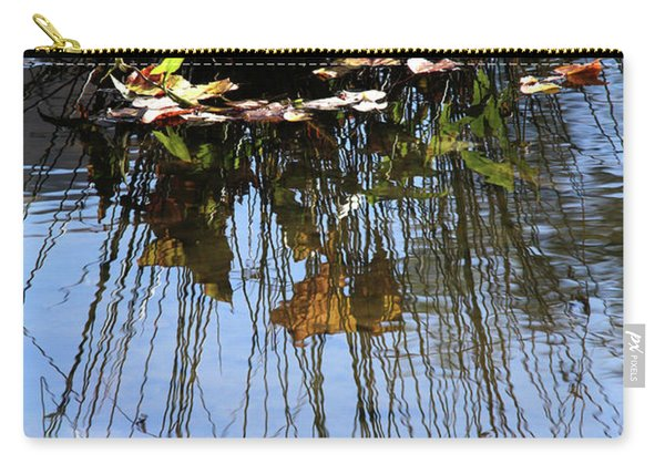 Water Reflection Of Plant Growing In A Stream Carry-all Pouch