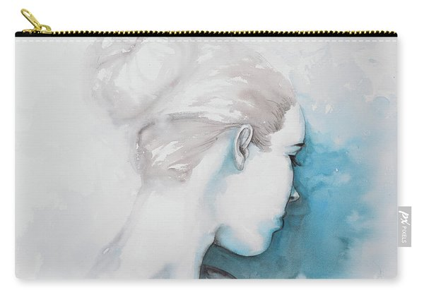 Watercolor Abstract Girl With Hair Bun Carry-all Pouch