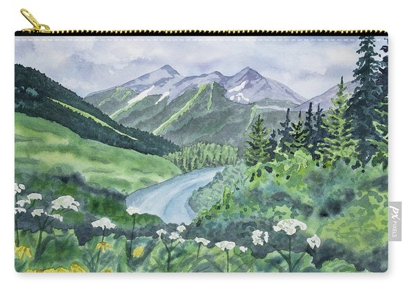Watercolor - Colorado Summer Landscape Carry-all Pouch