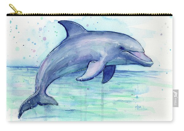 Watercolor Dolphin Painting - Facing Right Carry-all Pouch