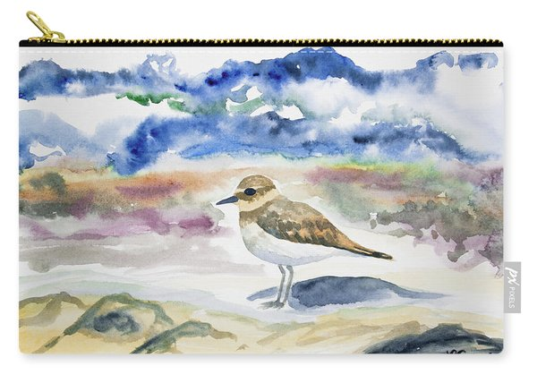 Watercolor - Double-banded Plover On The Beach Carry-all Pouch