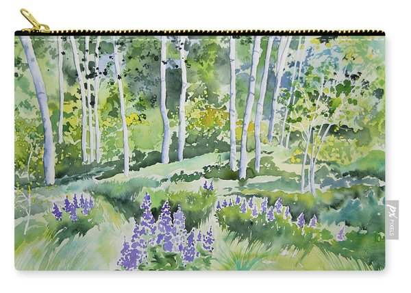 Watercolor - Early Summer Aspen And Lupine Carry-all Pouch