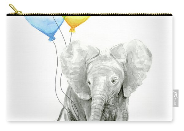 Watercolor Elephant With Heart Shaped Balloons Carry-all Pouch