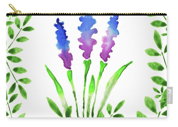 Blue Watercolor Flowers And Leaves I Carry-all Pouch