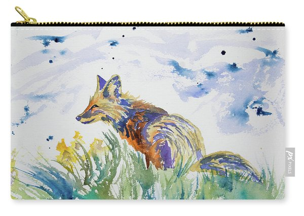 Watercolor - Fox On The Lookout Carry-all Pouch