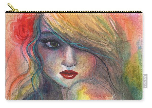 Watercolor Girl Portrait With Flower Carry-all Pouch