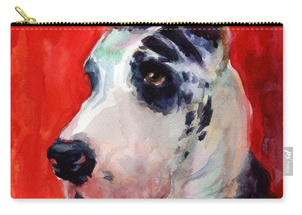 Watercolor Harlequin Great Dane Dog Portrait 2  Carry-all Pouch