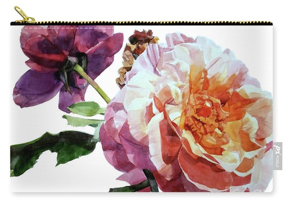Watercolor Of Two Roses In Pink And Violet On One Stem That  I Dedicate To Jacques Brel Carry-all Pouch