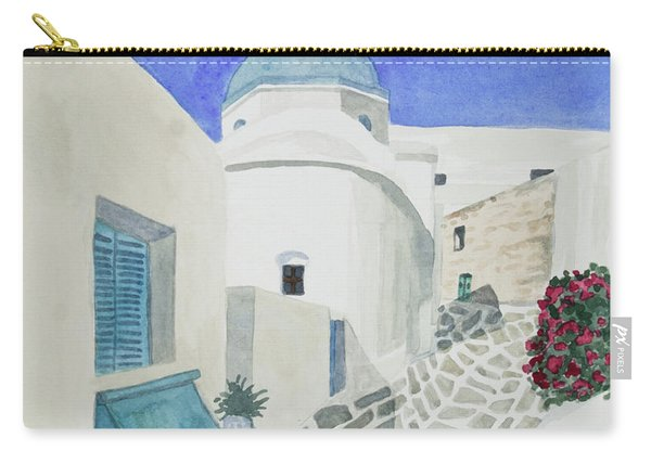 Watercolor - Paros Church And Street Scene Carry-all Pouch